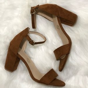 🔥 Brown Suede Ankle Strap Heels